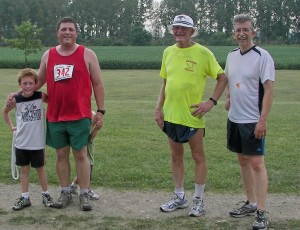 After the BOSS run with fellow Champaign Countians and back-of-the-packers Steve Henderson, his son-in-law Ben Dunham and Ben's son Riley.