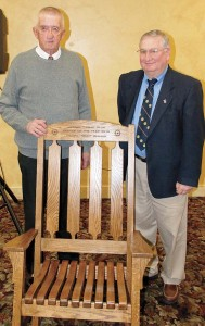 Bud Runyan, left, honored as the 2010 Rotary Farmer of the Year Award by Rotarian Chuck Havens.