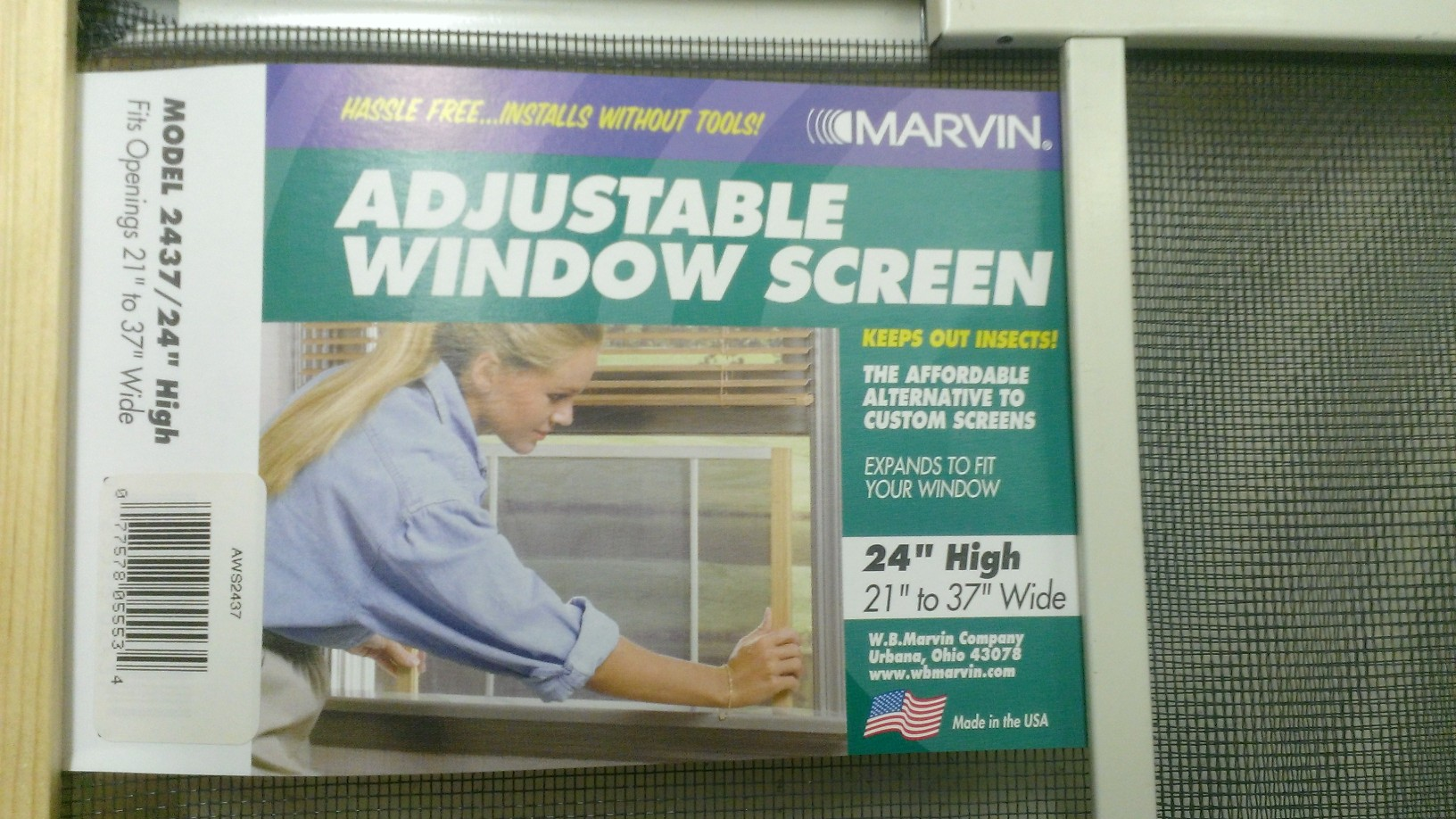 Adjustable Window Screen Made By Wb Marvin Manufacturing Co Of Urbana,  Ohio