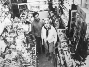 John Carmazzi and his mother, Victoria, in the store in 1974.