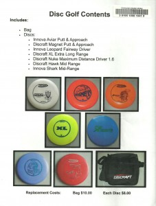 This card shows the contents of the disc golf sets that can be borrowed from the Champaign County Library.