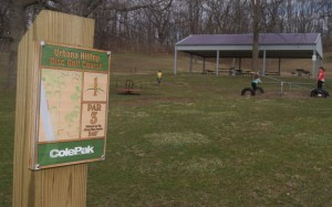 No. 1 Tee sign at Urbana Hilltop Disc Golf Course.