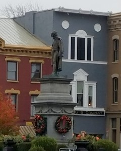 Man on the Monument, downtown Urbana, Ohio, Christmas 2016