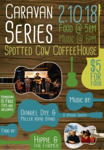 Caravan Music Series poster, Spotted Cow Coffeehouse, Urbana, Ohio